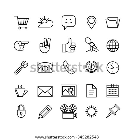 line phone icons set isolated illustration. Icons for business, management, finance, strategy, planning, analytics, banking, communication, social network, affiliate marketing. - stock vector