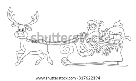 Line Santa Claus and the deer. Vector Christmas design element.  - stock vector