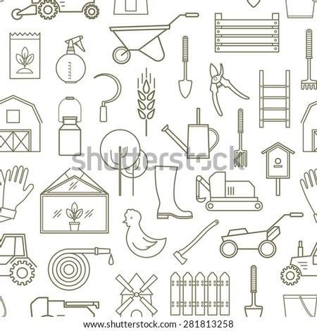 Line seamless pattern icon farmer, gardening tools on white background. 30 high quality simple linear icons. Vector illustration, eps 10 - stock vector