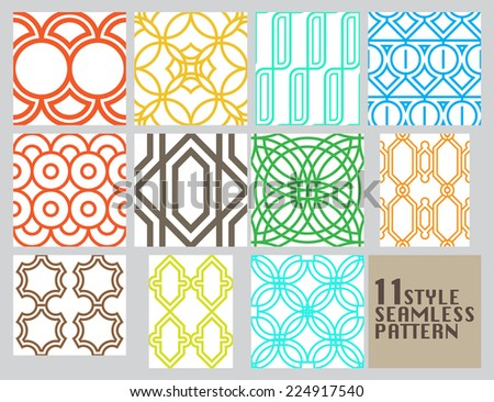 Line seamless patterns 11 style,Vector background - stock vector