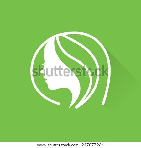 Line Short Hair Beauty  - stock vector