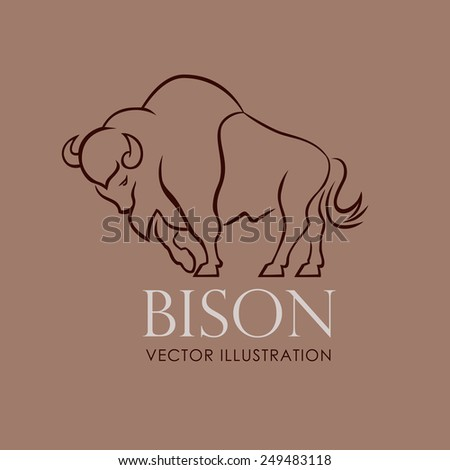 line sing bison vector illustration - stock vector