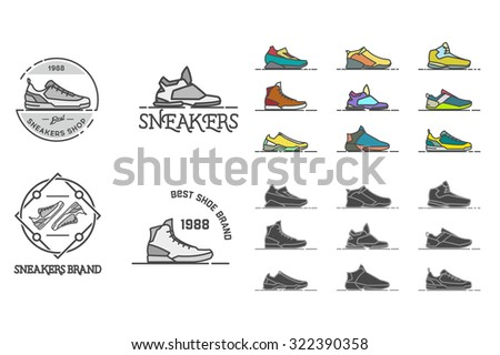Line sneakers and shoes labels. Stock vector. - stock vector