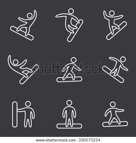 Line snowboard icons set. Linear figure snowboarders