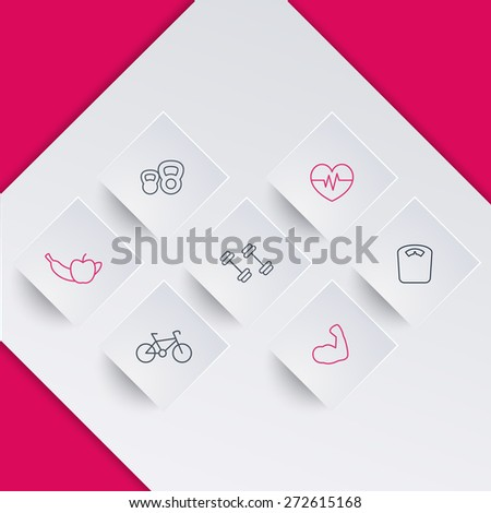 line square fitness icons on geometrical background, vector illustration, eps10, easy to edit - stock vector