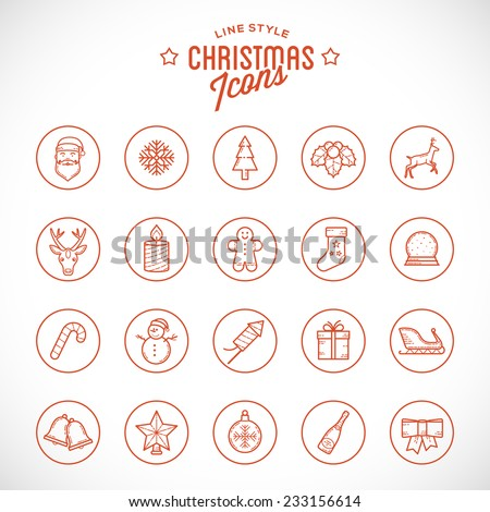 Line Style Christmas and New Year Icon Set  With Tree, Snowflake, Santa, Deer, Gift, Snowman, Star, Firework, Sock and Other Isolated