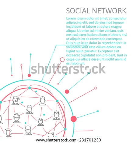 line style depicting individuals and social networks and place for your text.  modern image of human communication in the internet. abstract image of social networking . vector illustration eps 10 - stock vector