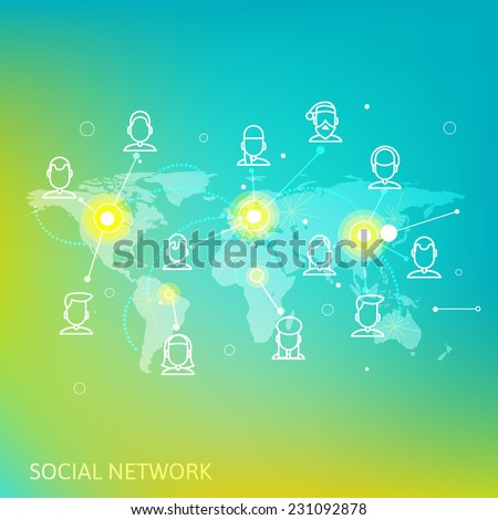 line style depicting individuals and social networks. modern image of human communication in the internet. communication with people anywhere in the world . abstract image of social networking . - stock vector
