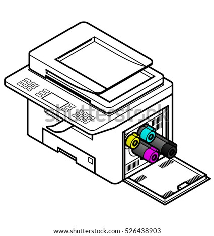Line style drawing of a multifunction office laser printer.  Showing toner cartridges being removed / installed.