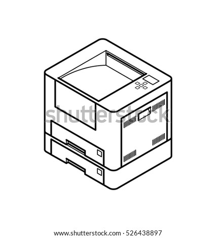 Line style drawing of an office laser printer. With 2 paper trays.