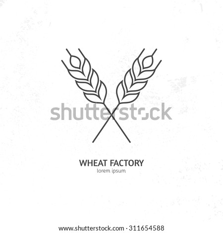 Line style logotype template with wheat. Easy to use business template.  - stock vector