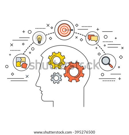 Line style vector illustration concept for productivity, efficiency, intelligence, intellectual work, creativity  isolated on white background - stock vector