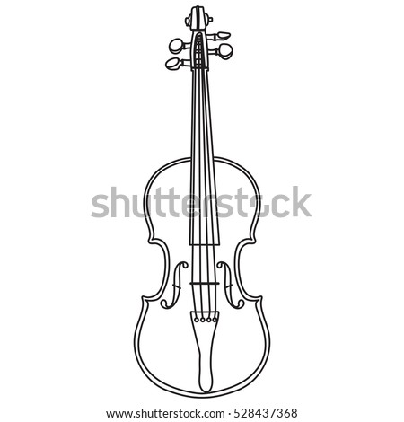 Line style violin isolated on white background. Violin vector illustration.