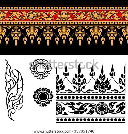 Line Thai art stripe design , Vector illustration - stock vector