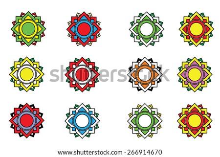 Line thai lotus flower for design vector - stock vector