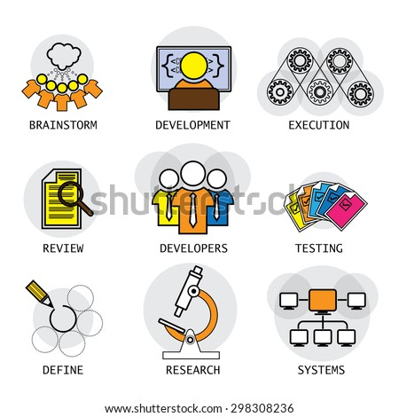 Line Vector Design Software Industry Process Stock Vector