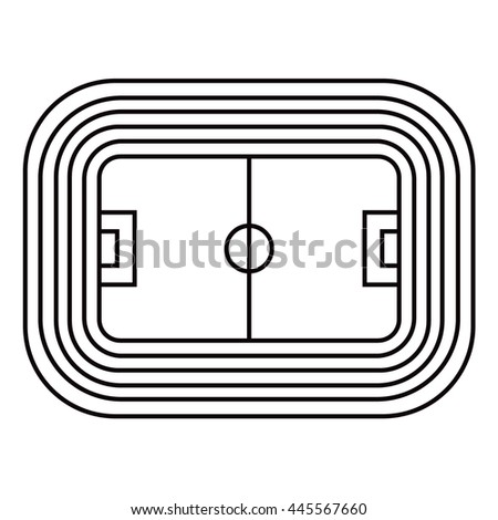 line vector  icon of stadium with a football field and tribunes view from above - stock vector