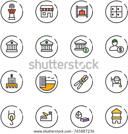 line vector icon set airport tower stock vector royalty free