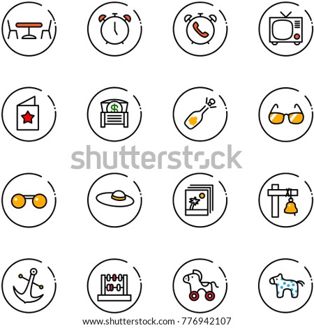 line vector icon set - cafe vector, alarm clock, phone, tv, star postcard, money chest, fizz opening, sunglasses, woman hat, photo, ship bell, anchor, abacus, wheel horse, toy
