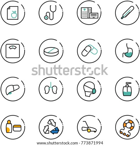 line vector icon set - diet list vector, stethoscope, hospital building, thermometer, floor scales, pill, pills, stomach, liver, lungs, medical mask, liquid soap, uv cream, recycling, lawn mower