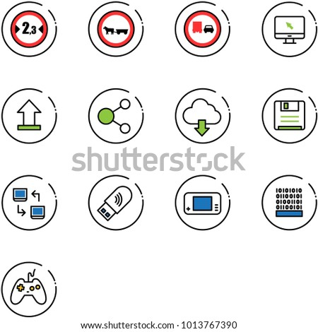 line vector icon set - limited width vector road sign, no cart horse, truck overtake, monitor cursor, uplooad, share, download cloud, save, data exchange, usb wi fi, game console, binary code