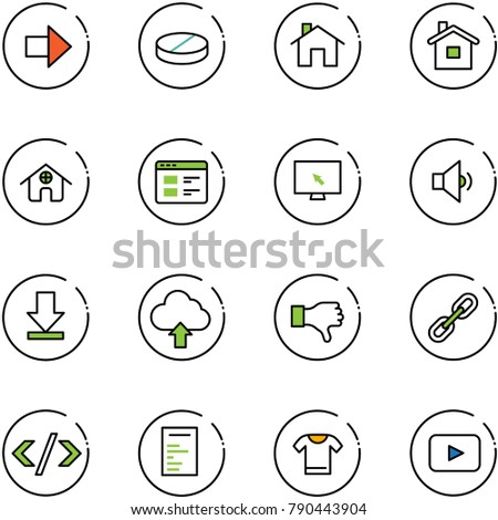 line vector icon set - right arrow vector, pill, home, website, monitor cursor, low volume, download, upload cloud, dislike, link, tag code, document, t shirt, playback
