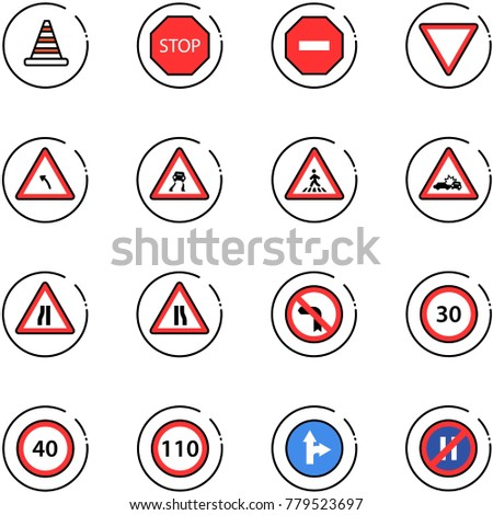 line vector icon set - road cone vector, stop sign, no way, giving, turn left, slippery, pedestrian, car crash, narrows, speed limit 30, 40, 110, only forward right, parking even