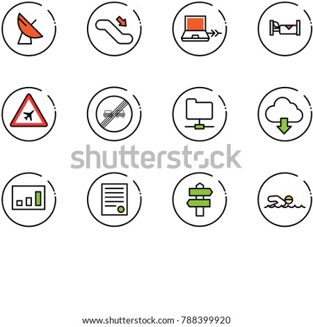 line vector icon set - satellite antenna vector, escalator down, netabook connect, hotel, airport road sign, end overtake limit, network folder, download cloud, statistics, agreement, signpost