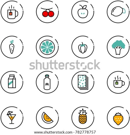 line vector icon set - tea vector, rowanberry, apple, lemon, carrot, slice, sweet pepper, broccoli, milk, breads, hot, drink, watermelone, pineapple, strawberry