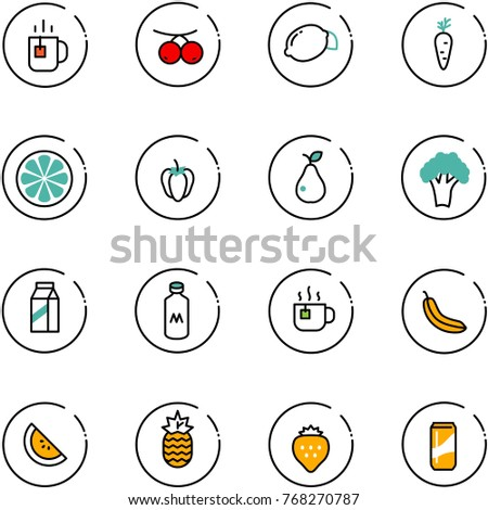 line vector icon set - tea vector, rowanberry, lemon, carrot, slice, sweet pepper, pear, broccoli, milk, hot, banana, watermelone, pineapple, strawberry, drink