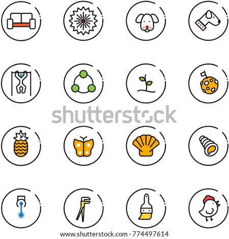 line vector icon set - vip waiting area vector, firework, dog, pull ups, social, sproute, moon flag, pineapple, butterfly, shell, laser, plumber, brush, chicken toy