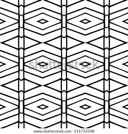 Line vector seamless pattern. Repeating geometric tiles. Modern stylish texture. Monochrome arabic, aztec design. Hand drawn tribe motif.