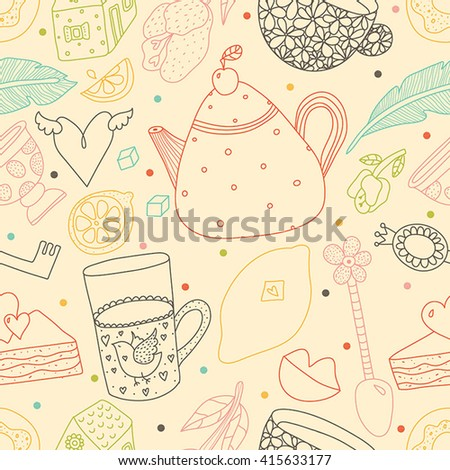 Line vector seamless pattern. Tea and coffee. Sweets and love.