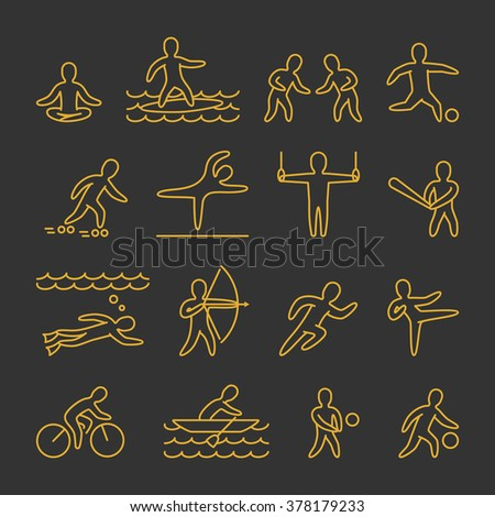 Line vector shapes athletes. Icon and symbols for popular sports. Gold of sportsmen figure isolated on black background.