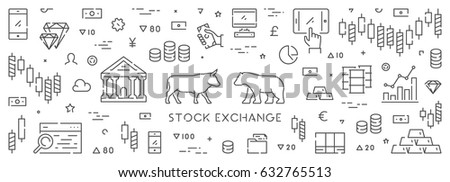 Line web banner for stock market. Horizontal concept of commodity exchange.