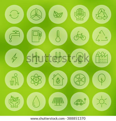 Line Web Ecology Energy Power Icons Set. Vector Collection of Modern Thin Line Icons of Environment Green Energy Circle Shaped over Blurred Background.