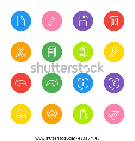 line web icon set on colorful circle for web design, user interface (UI), infographic and mobile application (apps)