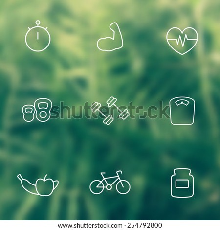 line white fitness icons on blur background vector illustration, eps10, easy to edit - stock vector