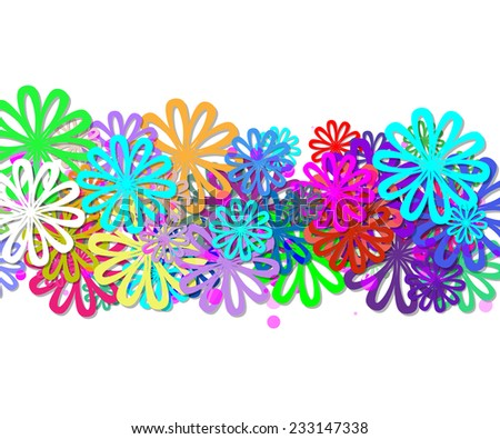 line with colors flowers. Background for your text - stock vector