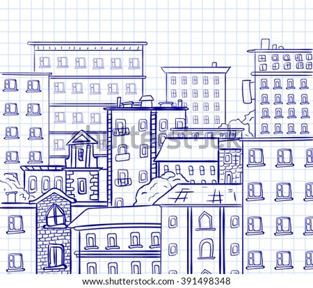 Line work, doodle city. Blue lines on notebook page background. VECTOR hand drawn sketch - stock vector