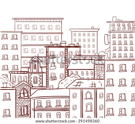 Line work, doodle city. Brown lines on white background. VECTOR hand drawn sketch - stock vector