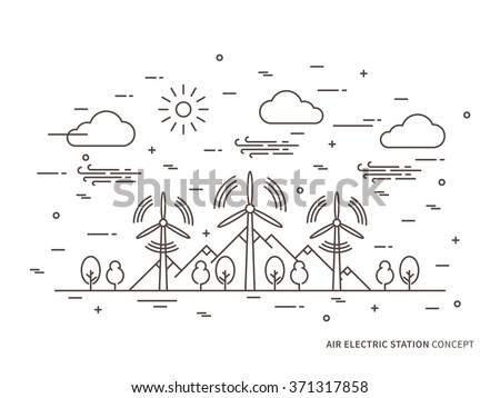 Linear air electric station (wind energy park, wind power station) vector illustration. Air energy (wind-energetic) creative concept. Wind turbine, wind-driven powerplant graphic design.  - stock vector