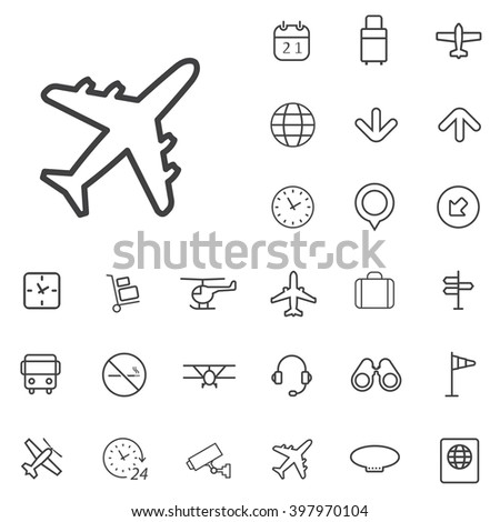 Linear airport icons set. Universal airport icon to use in web and mobile UI, airport basic UI elements set - stock vector
