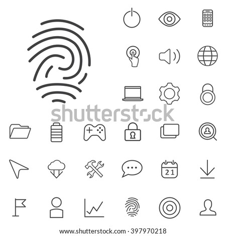 Linear app icons set. Universal app icon to use in web and mobile UI, app basic UI elements set - stock vector