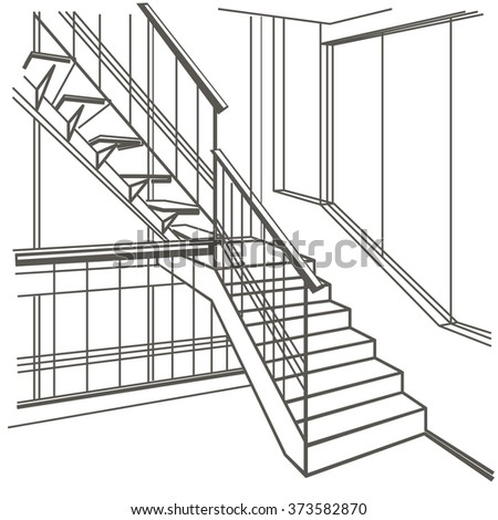 linear architectural sketch interior stairs on white background