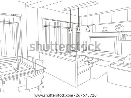 Linear Architectural Sketch Living Room Studio