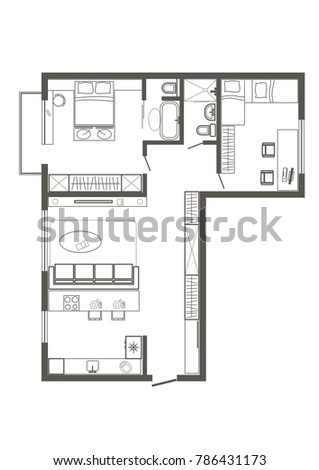 Linear Architectural Sketch Plan Of Standart Two Bedroom Apartment