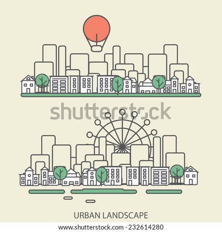 linear background with urban landscape, a stylish modern design for your business, vector illustration eps 10 - stock vector
