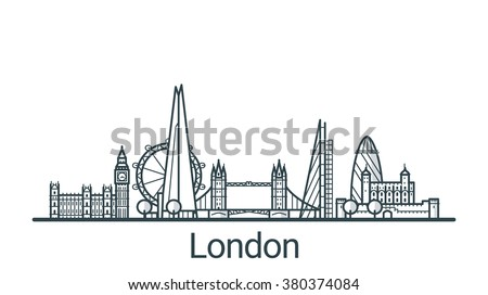 Linear banner of London city. All buildings - customizable different objects with background fill, so you can change composition for your project. Line art. - stock vector