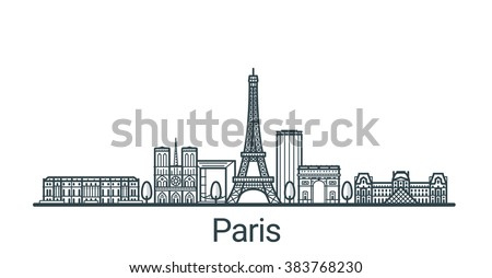 Linear banner of Paris city. All buildings - customizable different objects with background fill, so you can change composition for your project. Line art. - stock vector